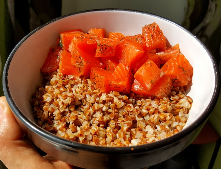 buckwheat with Salted Salmon