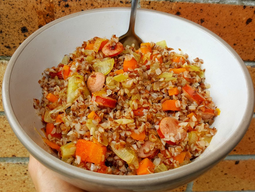 buckwheat with onions carrot sausage