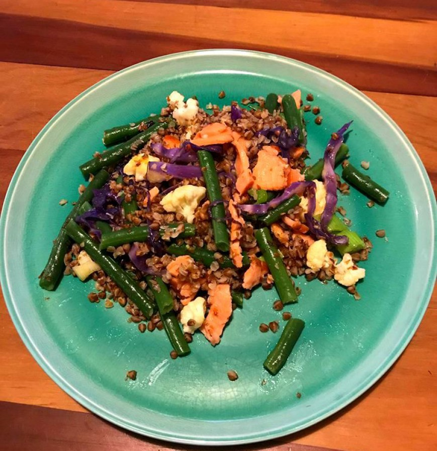 buckwheat with veggies and salmon