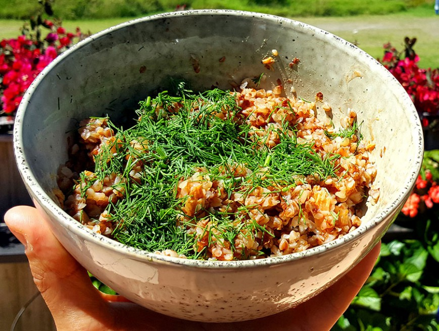 kasha with tuna and fresh dill