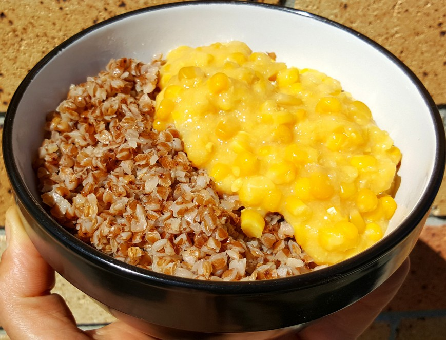 roasted buckwheat and Creamed corn