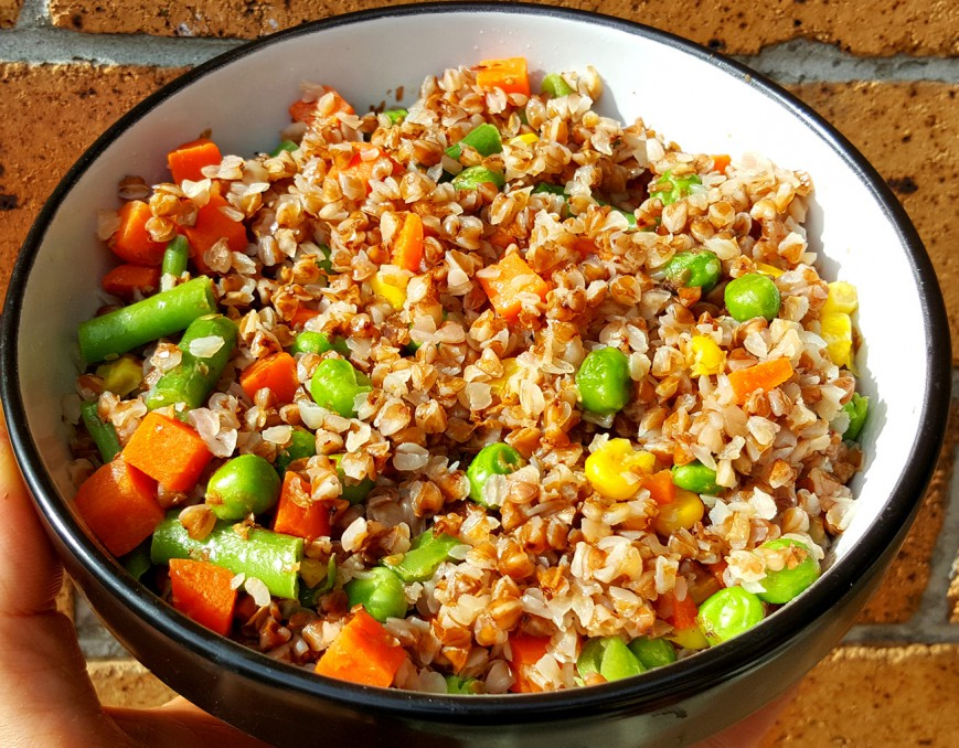 roasted buckwheat kasha with mixed vegetables