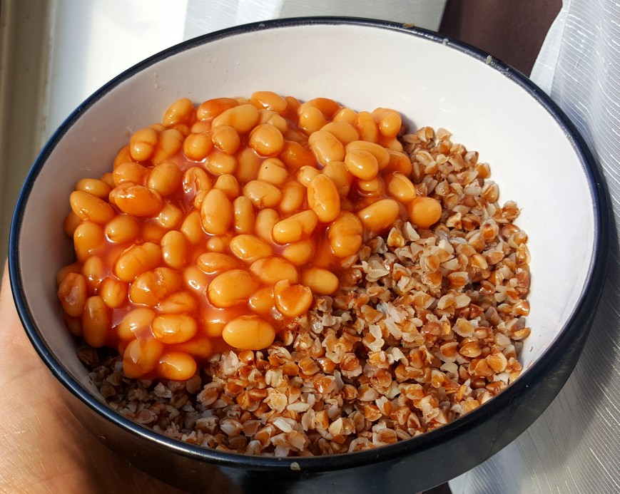roasted buckwheat with baked beans
