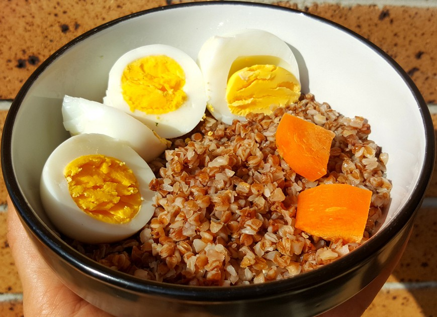 roasted buckwheat with boiled eggs