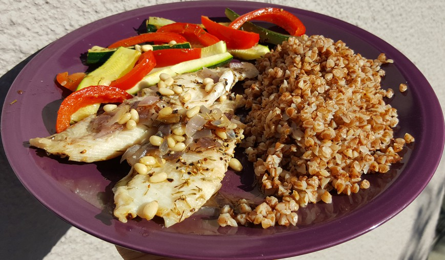 roasted buckwheat with fish
