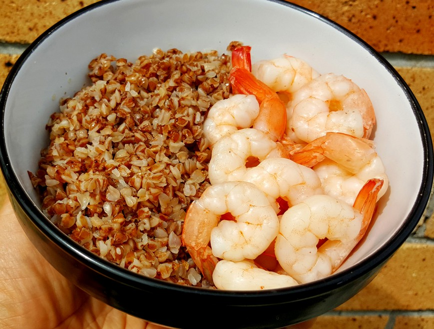 roasted buckwheat with prawns