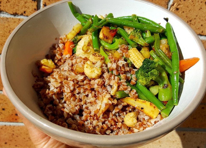 roasted buckwheat with stir fried veggies